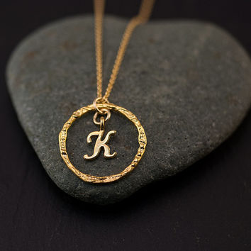 Personalized Initial Necklace - Gold Letter Necklace - Custom Initials Jewelry