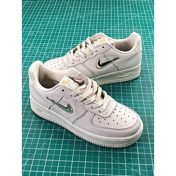 Nike Air Force 1 Low Jewel White Metallic Gold Star Sport Shoes - Sale
