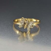 Vintage Butterfly Gold and Diamond Insect Ring