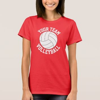 Red and White Volleyball Team Name Women's T-Shirt
