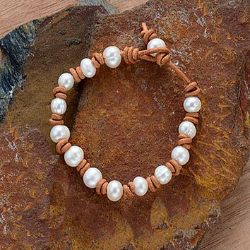 Freshwater Pearl and Leather Bracelet-In Stock