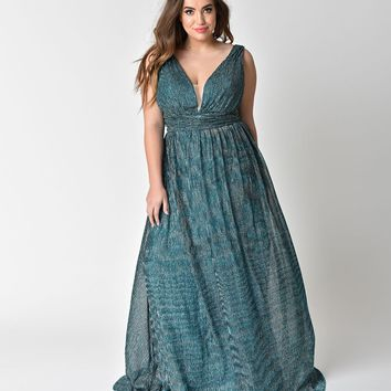 Plus Size Metallic Teal Green Ribbed Long Dress
