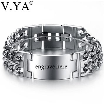 V.YA Wide Wristband Chain Bracelets Men Boy Punk Stainless Steel Personalized Engraved Name ID Unique Bracelets Bangle for Male