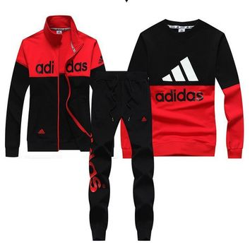 Tagre™ Trendsetter Adidas Women Men Top Sweater Pullover Cardigan Jacket Coat Pants Trousers Set Three-Piece