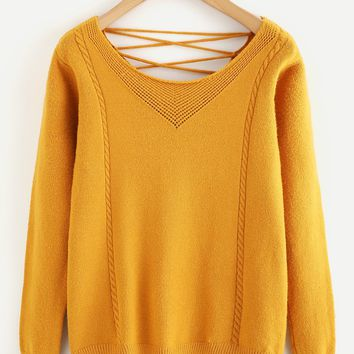 Dip Hem Lace Up Back Sweater
