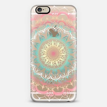 Pink, Cream & Soft Turquoise Glow Medallion on Clear iPhone 6 case by Tangerine- Tane | Casetify
