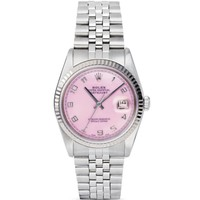Pre-Owned Rolex Stainless Steel Datejust Watch with Pink Mother-of-Pearl Dial, 36mm | Bloomingdales's