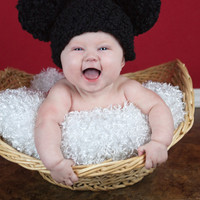 Baby Hat, 0 to 3 Month Baby Girl or Baby Boy Soft Chunky Crochet Double Pom Pom Mouse Ear Hat - Black Photography Prop Baby Hat
