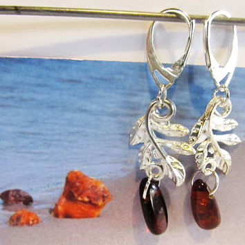 100% Natural Baltic Genuine Real #Amber #Leaves #Earrings 3.8 gr. transparent cognac brown polished #Silver 925 french clasp raw stones