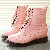 Harajuku Pink Rivet Anklet Boots Shoes from Moooh!!