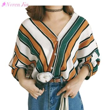 2018 Spring Summer Women Blouses Fashion New Work Shirt Striped Loose V-neck Tops Plus Size Shirt Women Long Batwing Sleeve Tops
