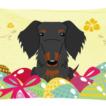 Easter Eggs Wire Haired Dachshund Black Tan Canvas Fabric Decorative Pillow BB6127PW1216