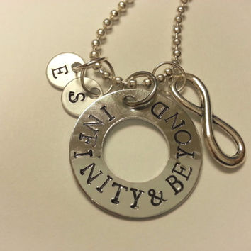 To Infinity and Beyond Necklace, Handstamped Washer Necklace feat. Handstamped Initial Tags and Infinity Charm