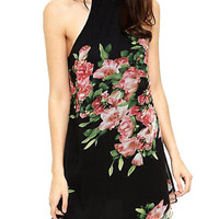 Black Floral Printed High Neck Mini Dress