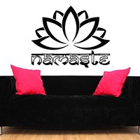 Namaste Wall Decal Quote Lotus Flower Vinyl Sticker Decals Quotes Buddha Decal Quote Indian Wall Decor Bedroom Yoga Studio Decor ZX195