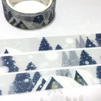 snowscape washi tape 7M winter snow scenes little house masking tape wonderful winter themed forest hut Christmas decor sticker tape