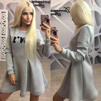 Letter Patched A-Line Sweater Dress