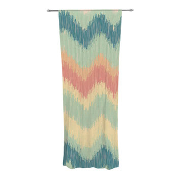 "Nika Martinez ""Ikat Chevron II"" Teal Decorative Sheer Curtain"