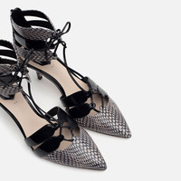 PRINTED LEATHER HIGH HEEL SHOES WITH STRAPS