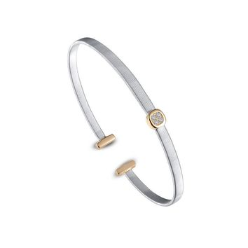Lafonn Sterling Silver Milano Bezel Bangle Bracelet with Simulated Diamonds