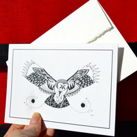 Owl Greeting Cards, Owl Art Cards, Owl Notecards, Flying Owl, Owl Feather, Owl Cards, Owl Art, Zentangle Cards - 10 pack of cards
