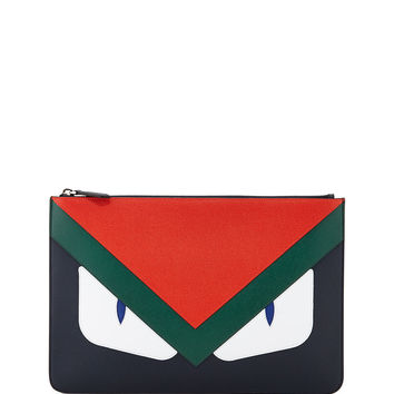 Monster Leather Pouch, Blue/Orange - Fendi