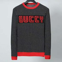 GUCCI 2018 trend men's round neck knit pullover sweater red
