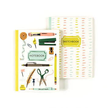Stationery Show Duo Books | Office Supply Insipired Notebook & Sketchbook Set