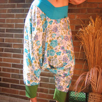 TALL SIZE extra long xxl 2xl 3xl Turquoise Roses RAYON Adventure Leisure Yoga Pants for Tall People - designed and made in Berlin Germany
