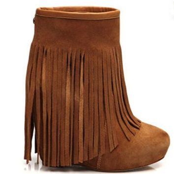Koolaburra Veleta Wedge Ankle Boot with Floor-length Fringe in Chesnut - Koolaburra - $290.00 - Swank Atlanta