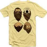 Family Guy meets Duck Dynasty with this shirt - Peter, Brian, Stewie and Meg Griffin sporting some beards - Cool shirt for a fan