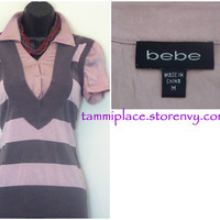 Bebe Button up Vest~Pink~Gray~Medium~Classy from Tammi's Place