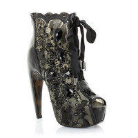 "Concelaed 5.5"" Heel w/Lace and Stone Peep Toe Ankle Boot"