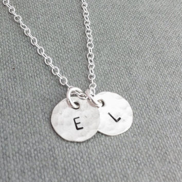 Hammered silver necklace, hammered initial necklace, silver disc necklace, stamped initial necklace, personalised silver neclace for women