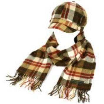 Get Ladies Winter Tartan Plaid sboy Cap Hat Softer Cashmere? Scarf Gift Set Brown at Best Buy Shop