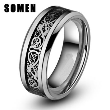 Somen 8mm Silver Celtic Dragon Inlay Polished Finish Edge Tungsten Ring Engagement Wedding Band Fashion Jewelry Men Women  Rings