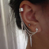 Double Chain Spiked Ear Cuff by MajesticEncounters on Etsy