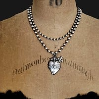 SACRED HEART Pendant Ball Chain Statement ViaLove Necklace