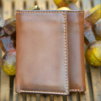 Leather Wallet - Men's Wallet - ZIP TRIFOLD Leather Wallet