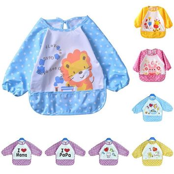 Cute Waterproof Long Sleeved Bib Baby Feeding Painting Clothes Apron