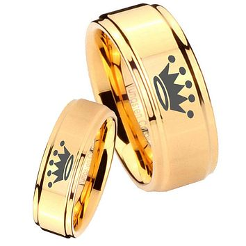 His Her Glossy Step Edges Crown 14K Gold IP Tungsten Wedding Rings Set