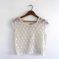 white crochet see through shirt / Vintage 90s boho open back top / size L