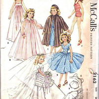 "McCall's 2162 Sewing Pattern Vintage 50s Sweet Sue Missy Doll Wardrobe Clothes Wedding Dress Coat Bathing Suit Nightgown 10 1/2"" Size Dollie"