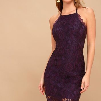 Wishful Wanderings Dark Purple Lace Bodycon Midi Dress