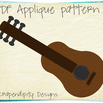 Guitar Applique Pattern - Music Applique Template / Music Quilt Pattern / Guitar Wall Hanging / Boys Boutique Shirt / Music Teacher AP199-D