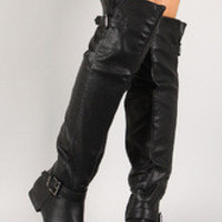 Leatherette Buckle Round Toe Thigh High Boot