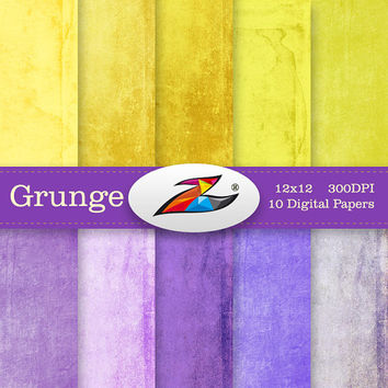 Labor Day Sale Distressed grunge digital paper grunge textures yellow purple scrapbook paper grunge backgrounds shabby chic Vintage paper