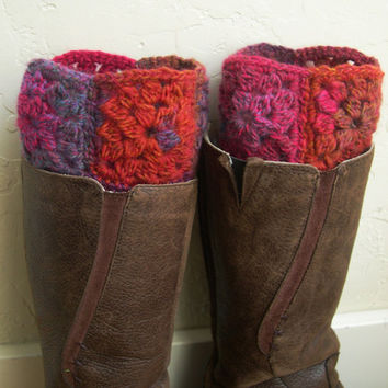 Winter Fashion Southern Hemisphere 2013 - Multicolor Boot cuffs - Colorful legwarmers  - Boot toppers - red boot cuffs - Granny square