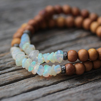 Opal Diamond Sandalwood Boho Beaded Bracelet / Flash Red Green Blue / Milky Australian Opal / Bohemian Beadwork Stacking Bracelet Jewelry