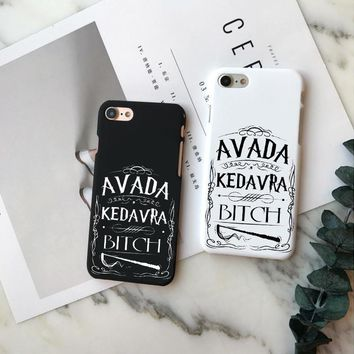 Harry Potter Hogwarts Hard PC Phone Case For iPhone X 10 Avada Kedavra Bitch Case For iPhone 5 5S 6 6S Plus 7 8 Plus Cover